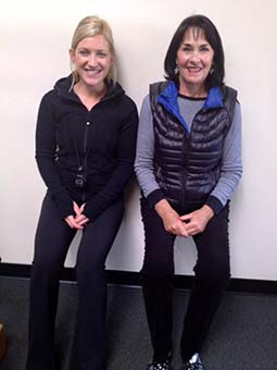 women doing wall sits strengthening their core