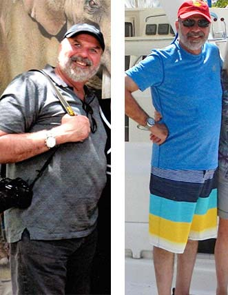 Before and After photos of a doctor who lost 44 pounds with strength training