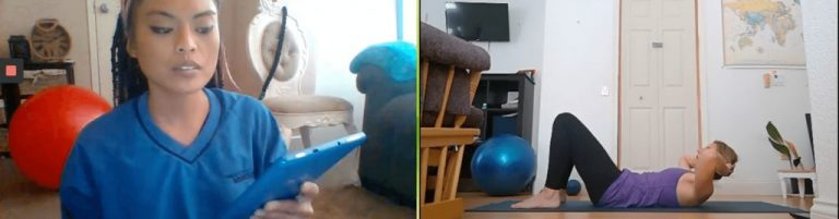 virtual personal trainer with client
