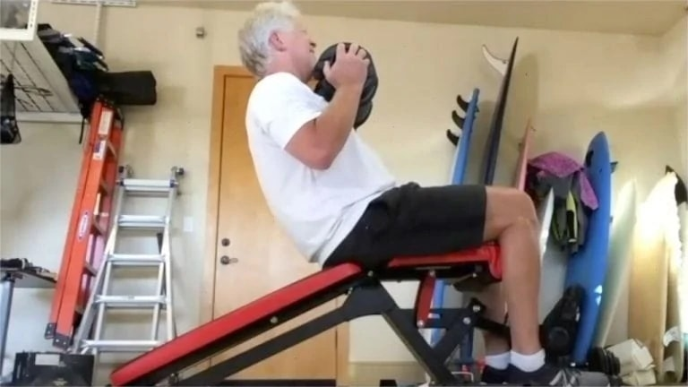 Rich turner working out virtually in his garage