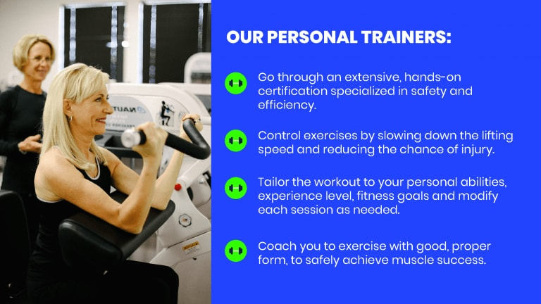 female client doing a preacher curl and a list of what our personal trainers do