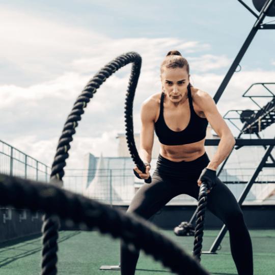 Exercise myth woman traditional training battle ropes