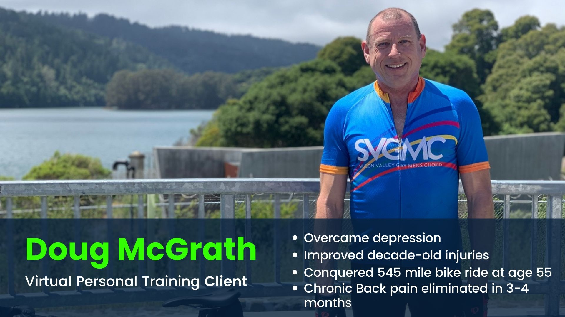 Virtual Training client smiling on a bike ride at age 55