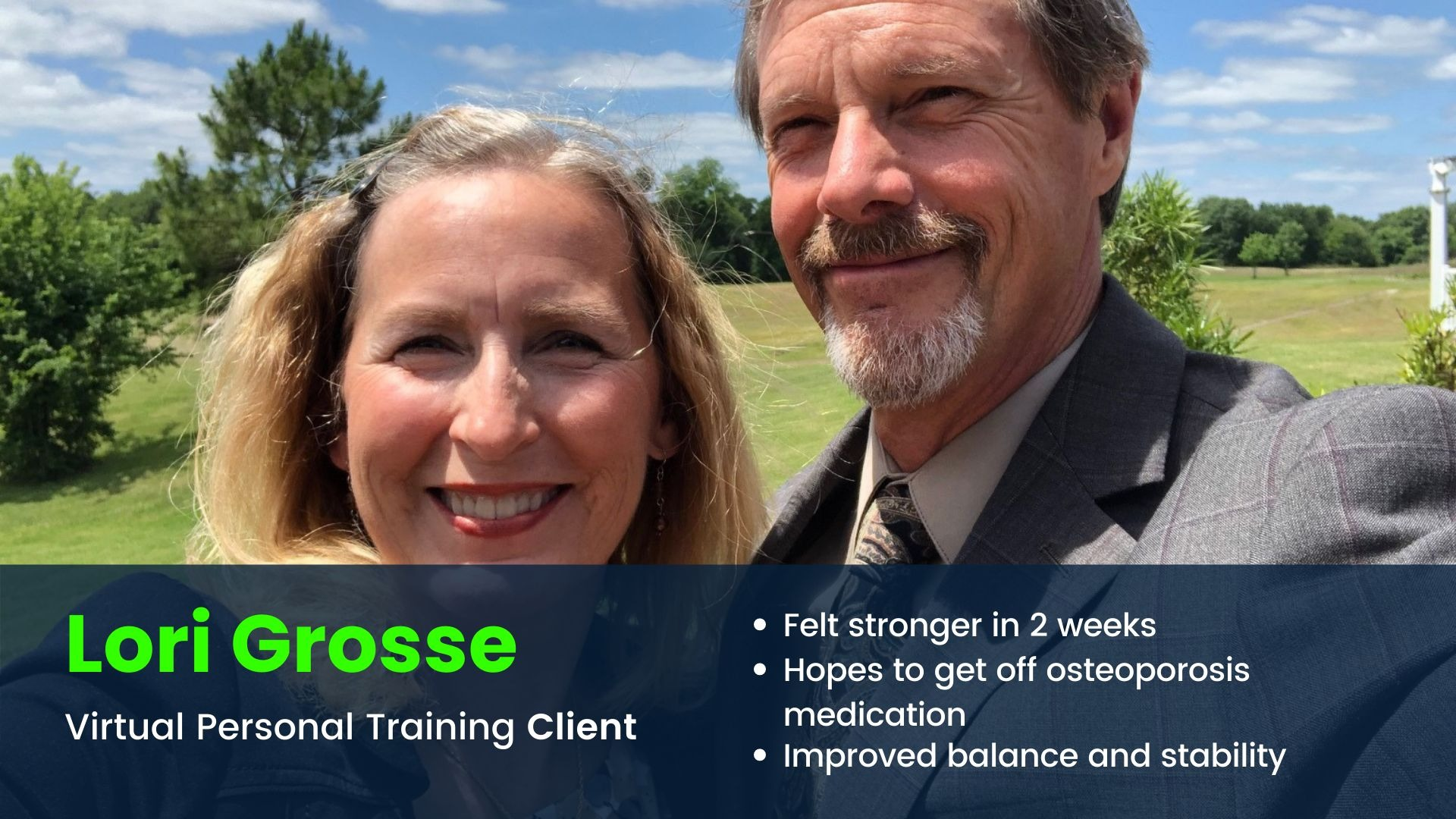Virtual Personal training client smiling with husband and feels stronger