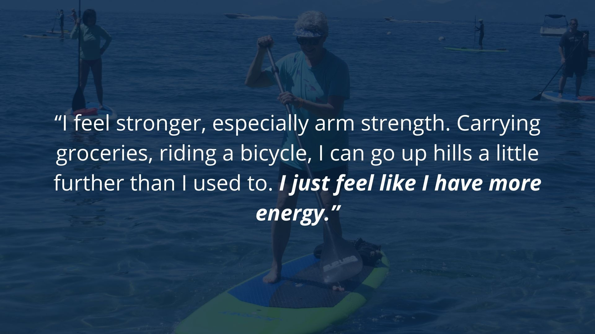 Virtual Personal training client feels stronger and has more energy