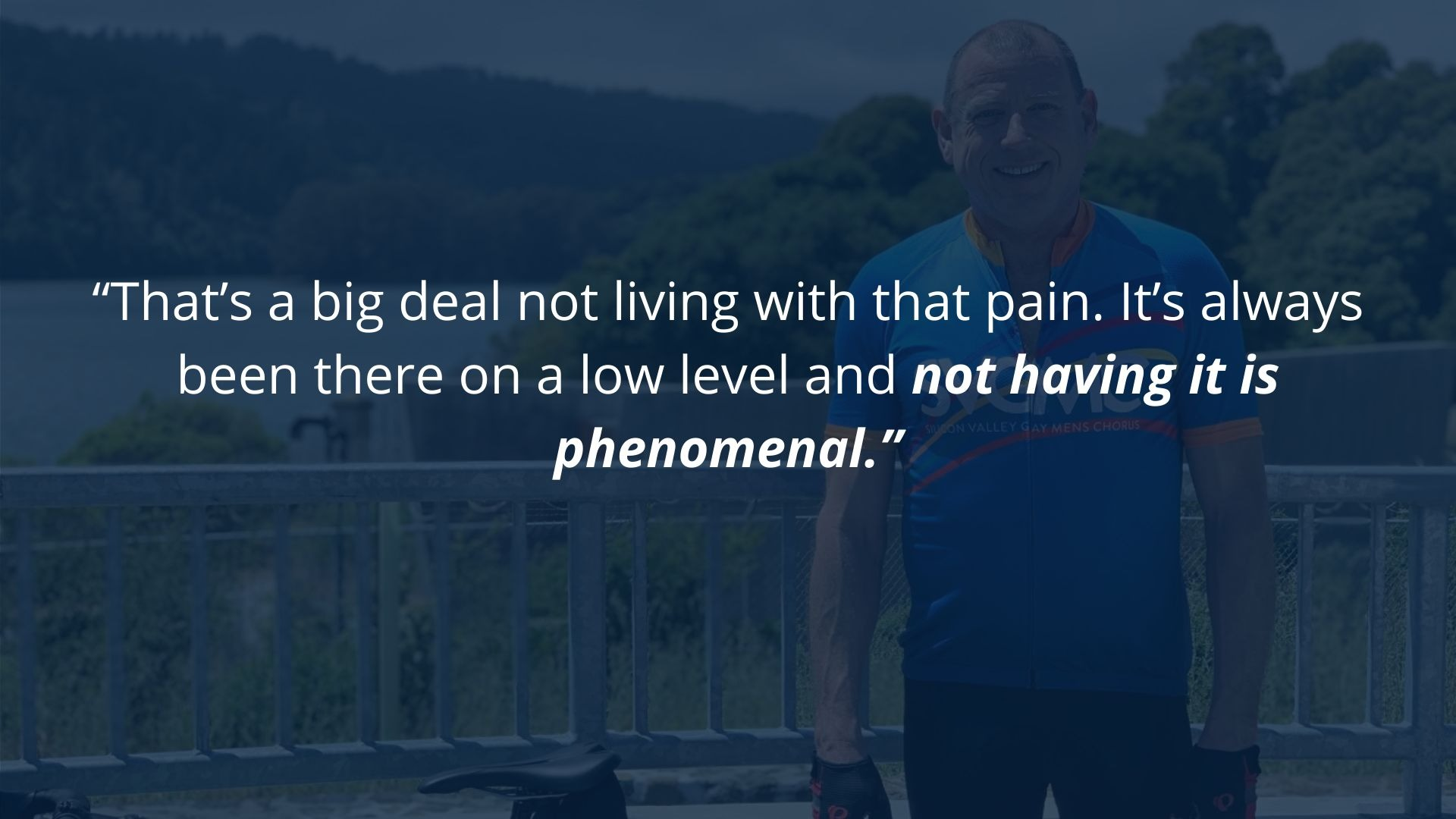 Virtual Training client says not having pain is phenomenal