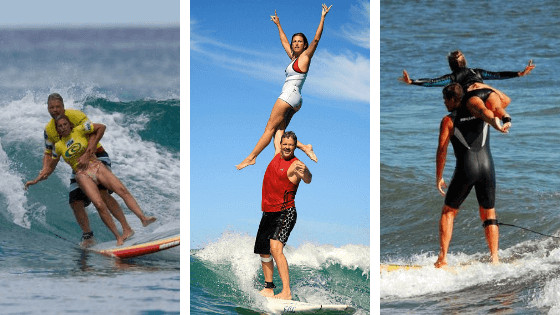 couple in their 60s surfing 3 pictures