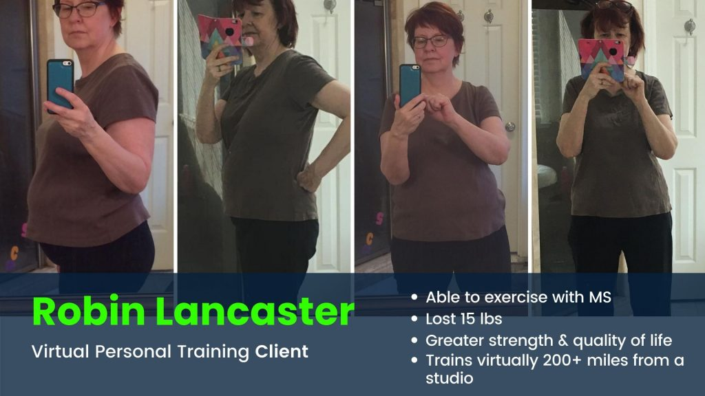 Client loses 15 pounds with Virtual personal trainer before and after results