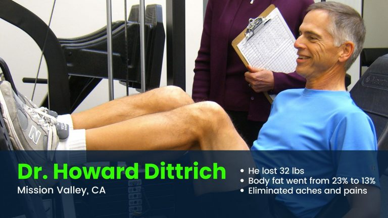 Doctor on leg press with personal trainer in Mission Valley