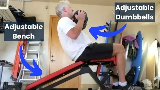Adjustable Dumbbells and bench
