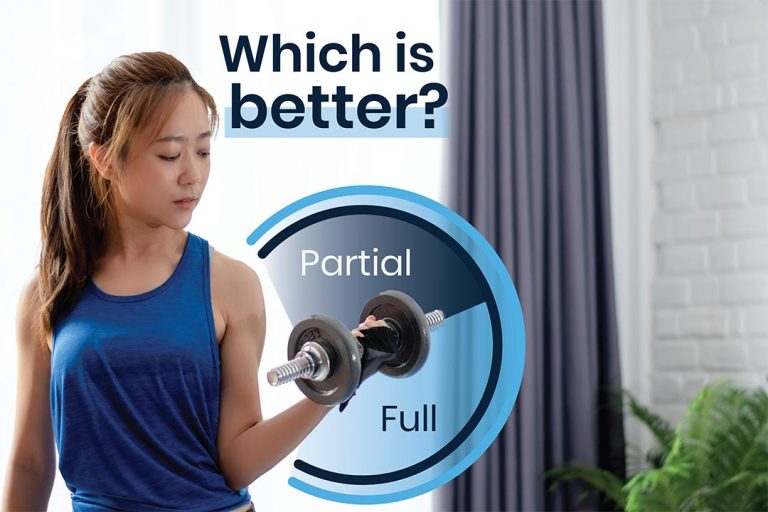 Female Lifting weights with full range of motion