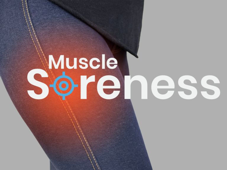 Muscle soreness from muscle building on a woman's quads
